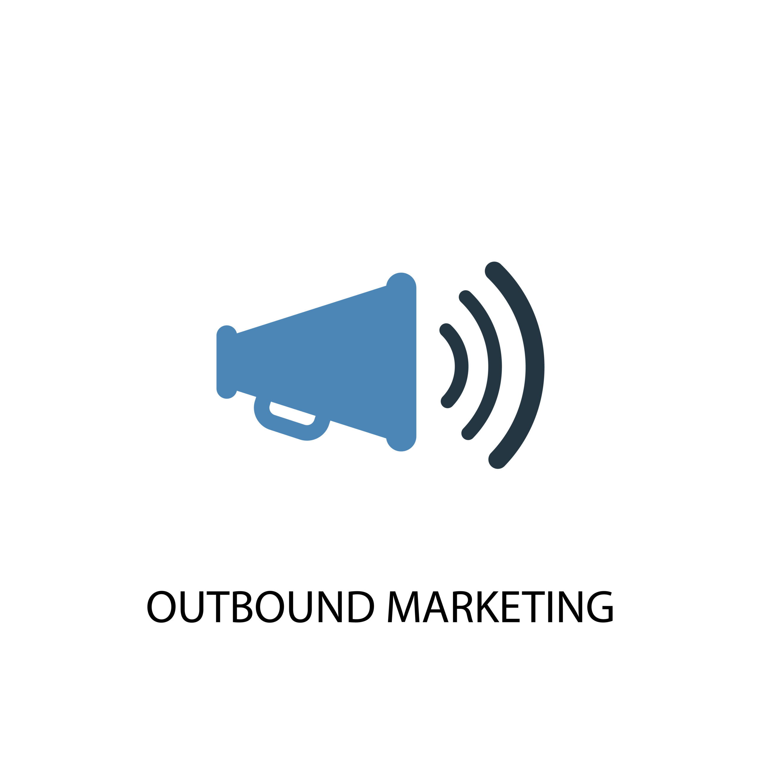outbound marketing concept 2 colored icon. Simple blue element illustration. outbound marketing concept symbol design. Can be used for web and mobile UI/UX